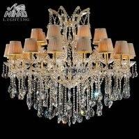 Dispositivo elétrico de iluminação estilo clássico coleção tons coloridos Grandes lustres de cristal de vidro Luzes 24 para Foyer  Lobby  villa MD8747