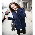 Hot 2016 Autumn And Winter New Fashion Retro Double Breasted Woollen Cloth Coat And Long Sections Woolen Coat Women A746