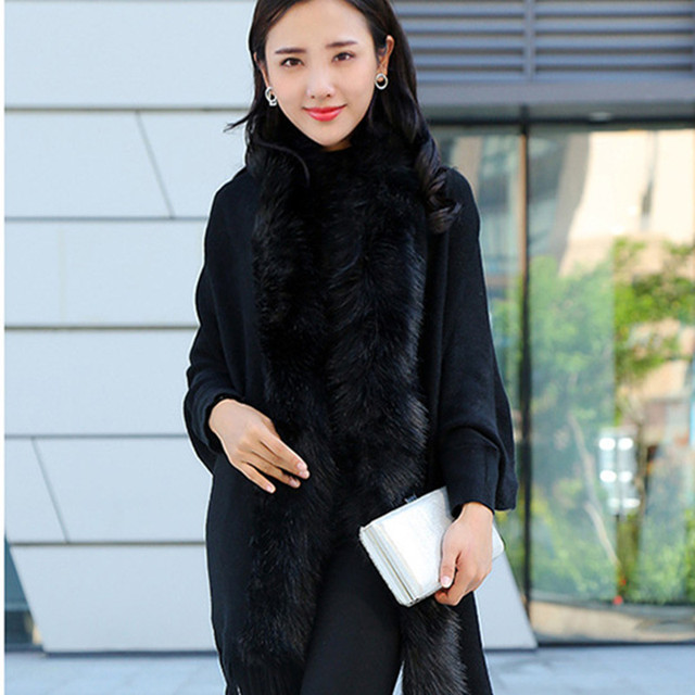 Faux Fur Collar Shawl Cardigan Tassel Winter Warm Coat 3