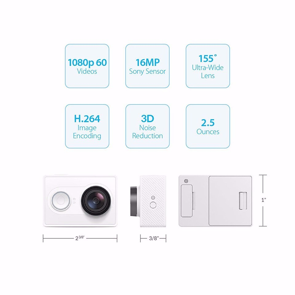 [International Edition]Original Xiaomi YI Action Camera Xiaoyi 1080P Sports Camera WiFi 3D Noise Reduction 16MP 60FPS Ambarella 16