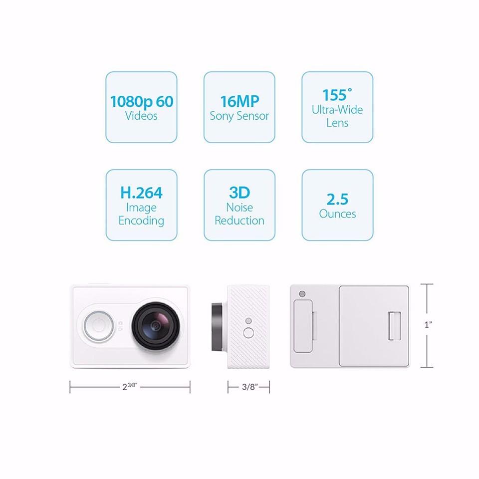[International Edition]Original Xiaomi YI Action Camera Xiaoyi 1080P Sports Camera WiFi 3D Noise Reduction 16MP 60FPS Ambarella 16
