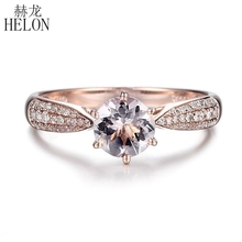 HELON Ronde Cut 6mm 0.59ct Elegante Morganite Ring Solid 14 k Rose Goud Echte Diamanten Ring Engagement Edelsteen Unieke sieraden Ring
