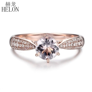 Image 1 - HELON Round Cut 6mm 0.59ct Elegant Morganite Ring Solid 14K Rose Gold Real Diamonds Ring Engagement Gemstone Unique Jewelry Ring