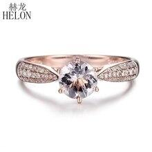 HELON okrągły Cut 6mm 0.59ct elegancki Morganite pierścień stałe 14 K różowe złoto prawdziwe diamenty pierścionek zaręczynowy kamień wyjątkowa biżuteria pierścień