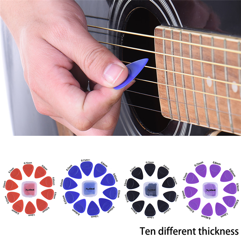10Pcs 1Set Guitar Picks Pickup Different Thickness Bass Guitar Electric Guitarra Plectrums Accessories with plastic box package 1