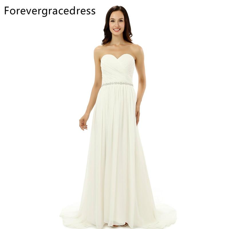Forevergracedress Gerçek Fotoğraf Muhteşem Şifon Akşam Elbise 2017 Beyaz Sevgiliye Backless Uzun Örgün Parti elbise Artı Boyutu