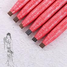 1PCS Eyebrow pencil waterproof eyebrow tattoo pen professional black deep  light coffee gray makeup brush
