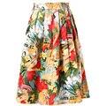 Faldas 2016 mujeres de la impresión floral vintage retro algodón plisado skater falda jupe courte falda más tamaño