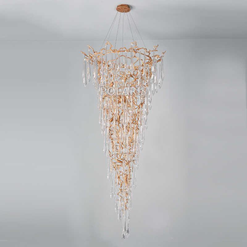 Современная медная люстра-канделябр светодиодный люстры стеклянные висячие люстры лампа медный подвесной светильник лестницы люстры свет
