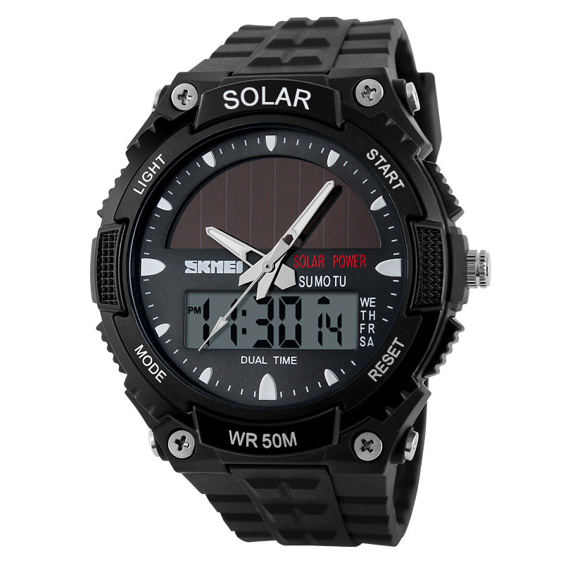 2018 New Solar Power Watch SKMEI Brand Men Sports Watches 2 Time Zone Digital Quartz Multifunctional Outdoor Dress Wristwatches