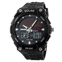 2018 New Solar Power Watch SKMEI Brand Men Sports Watches 2 Time Zone Digital Quartz Multifunctional Outdoor Dress Wristwatches