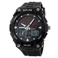 2017 yeni güneş enerjisi izle skmei marka erkek spor saatler 2 saat dilimi dijital kuvars çok fonksiyonlu açık elbise saatı