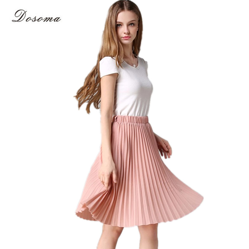 Pleated Skirt Spring/Autumn 2017 European Style Elegant Tulle Pleated Skirt Blue Chiffon Skirt Women's Vintage Pink Midi Skirt