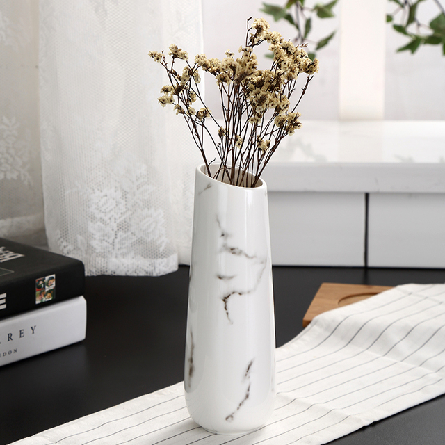 Marble Flower Inserted Ceramic White Tabletop Vase European Minimalist Vase Decoration Home Office Christmas New Year Decoration 2