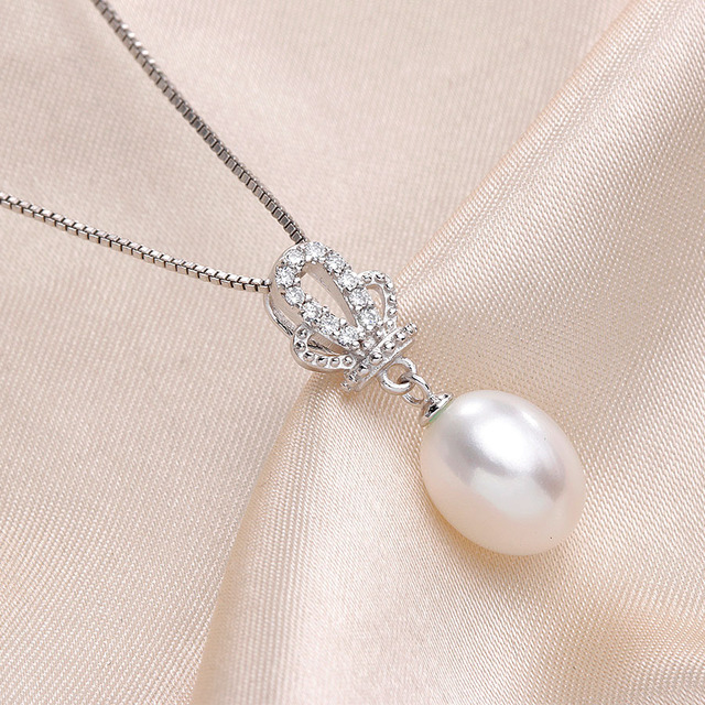 High Quality 100% Natural Freshwater White Pearl Pendant Necklace Women Fashion 925 Sterling Silver Crown Zircon Jewelry 45cm