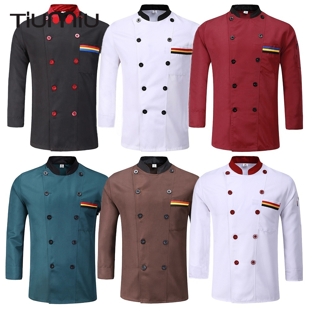 6 Colors Unisex Chef Uniform Restaurant Bakery Kitchen Work Wear Clothing Long Sleeve Breathable Cook Jackets Patchwork Overalls