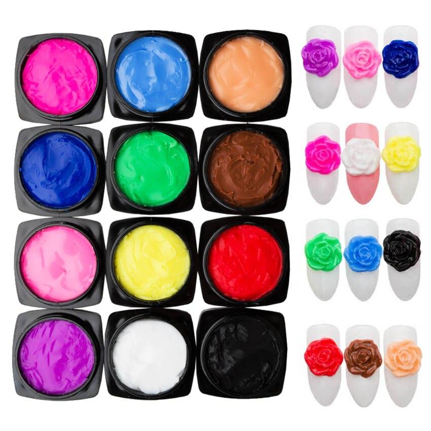 12 Colores/conjunto plastilina Gel para uñas 3D tallada patrones Gel tallada pintura Gel empapar UV de escultura gel 4SZJJ2009