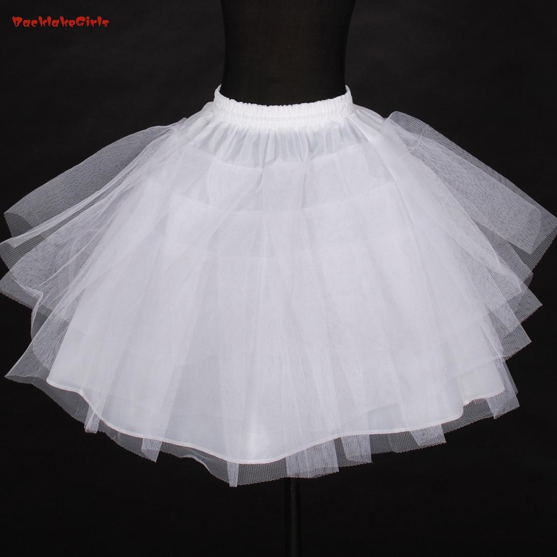 BacklakeGirls Wholesale In Stock Petticoats Three Layer Net White Flower Girl Dress Petticoat Cheap Child Crinolines