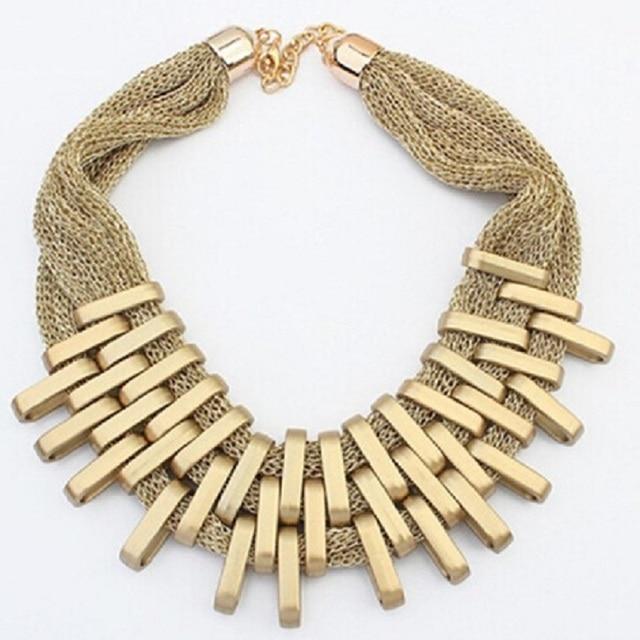 83f40d25fd5f Collar de encanto de lujo chunky cadena oro barato de la vendimia plateado  declaración Gargantillas bijoux