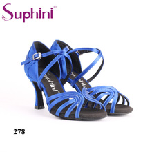 Suphini Soft sole Latin Dance Shoes Woman Low Heel Blue Satin Salsa Latin Dance Shoes Free Shipping free shipping suphini high heel woman dance shoes leopard print unique design tango dance shoes
