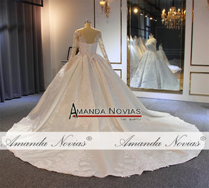 Image 5 - robe de soiree 2020 long sleeves satin wedding dress with lace sleeves real work