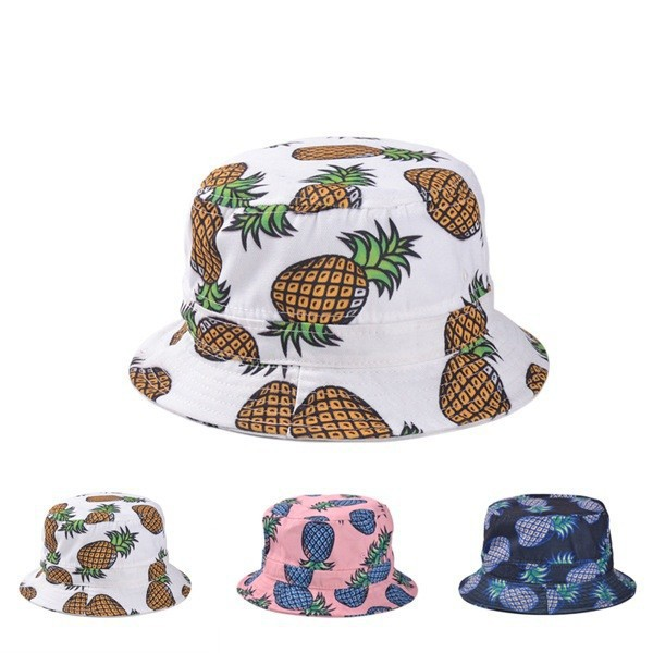 f9da4aa2554 Free Shipping 2017 New Fashion Lovely Summer White Pineapple Printed Bucket  Hats Outdoor Pineapple Fishing Sun Caps Women Girls