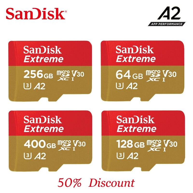 SanDisk Extreme 2019New A2/A1 64 cartão de memória 400G 256G 128G G 32G até 100 MB/s velocidade de leitura mcirosd C10 velocidade da placa de vídeo, v30, U3