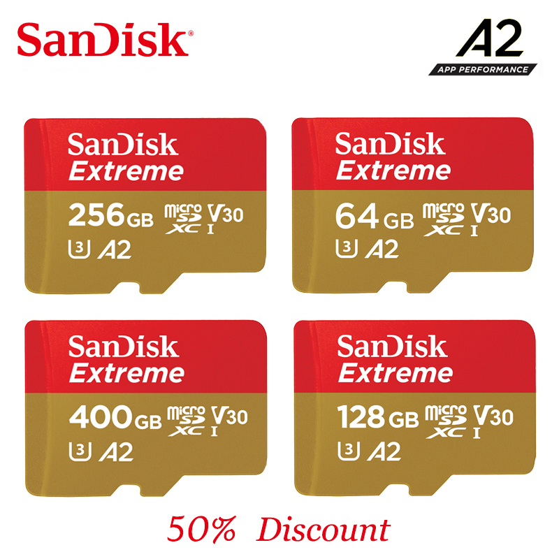 SanDisk Extreme 2019New A2/A1 memory card 400G 256G 128G 64G 32G Up to 100MB/s read speed mcirosd card video speed C10, V30, U3