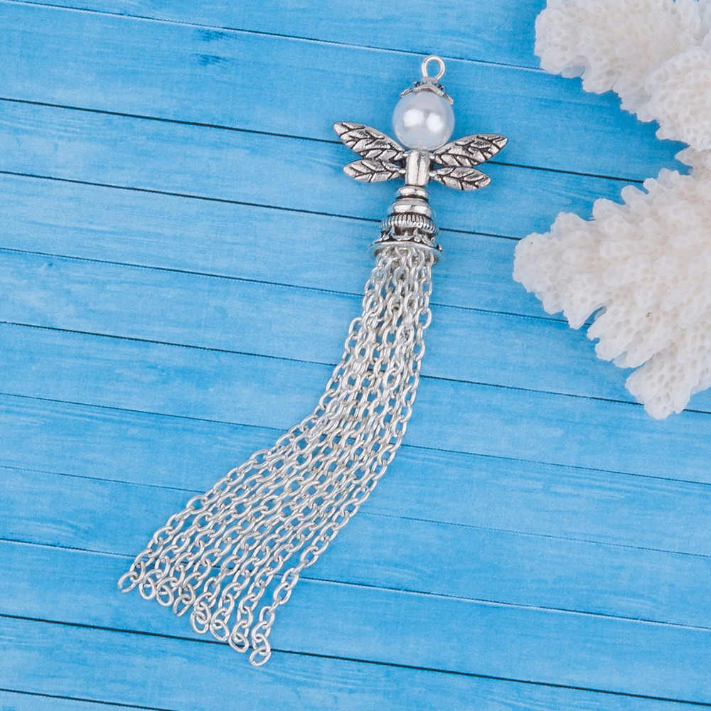 מלאך שומר אגף תליוני עם כסף צבע ציצית אקריליק חיקוי פרל חרוזים קסם DIY תכשיטי ביצוע 86x23mm 1 pc