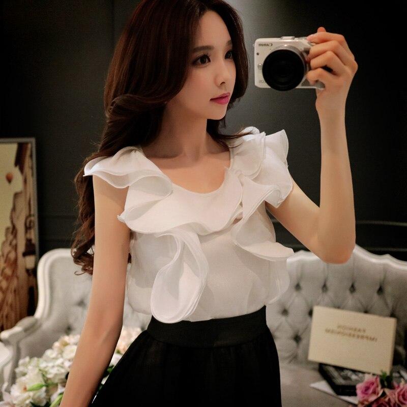 Dabuwawa Ruffle chiffon sexy blouse shirt Women irregular casual blouse Backless summer blouse feminine chemise 2018