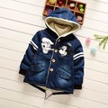 Kids winter jacket 2016 new design toddler baby boys thick warm denim jacket cartoon character boy clothes children's clothing