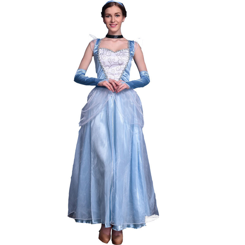 Blue Princess Cinderella Dress Costumes For Women Fairy Princess Adults Sexy Movie For -3173
