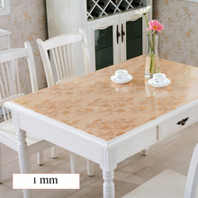 SKTEZO Soft Glass PVC Transparent Waterproof Anti-hot Tablecloth Home Coffee Mat Table Cover Kitchen Oilcloth for Wedding Party