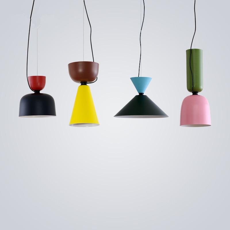 Mordern Nordic Colorful E27 Aluminum Pendant Light Suspension Drop Lamp Bar  Restaurant Pendant Lamp Kitchen Light