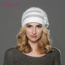 купить LILIYABAIHE NEW Style Women Winter hat knitted wool angora Beanies patchwork Colour  mink flower decoration cap Double warm hat по цене 900.22 рублей