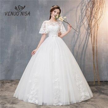 VLNUO NISA Elegant Lace Appliques Wedding Dress Vestidos De Novia Delicate Cap Sleeve Ball Gowns Plus Size Robe De Mariage 20