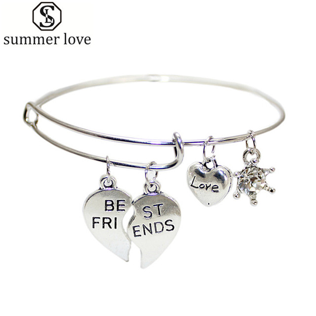 Best Friends Set Of 2 Charm Bangle Lovely Silver Plated Heart Charm