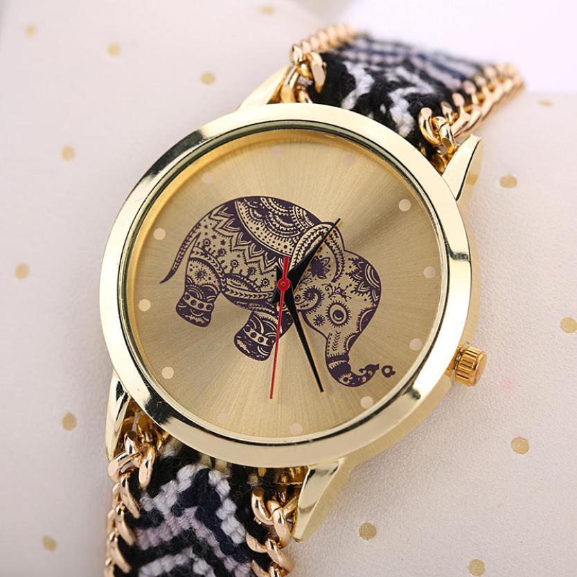 Elefanten Muster Gewebt Seil Band Armband Quarz Dialwatch Analog Quarz Frauen Uhr Armband Uhr Uhren