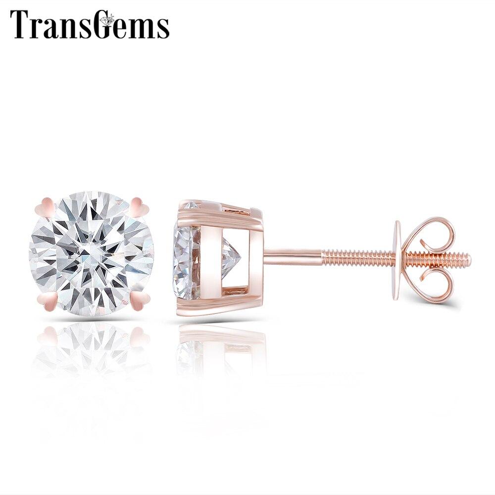 Transgems Solid 14K 585 Rose Gold 2CTW 6 5MM F Color Moissanite Stud Earrings Screw Back