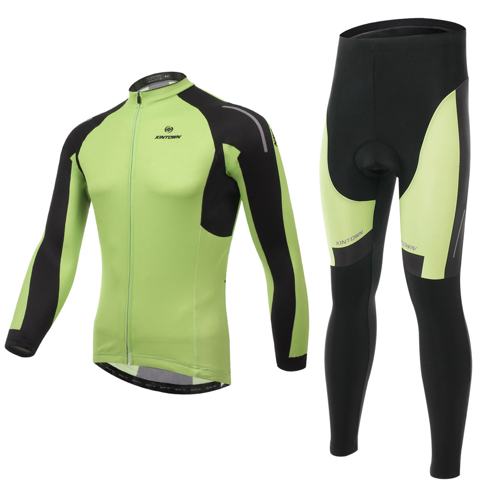 XINTOWN Yanqi green riding jersey long sleeve wear bicycle suits spring autumn moisture perspiration quick-drying clothes pants