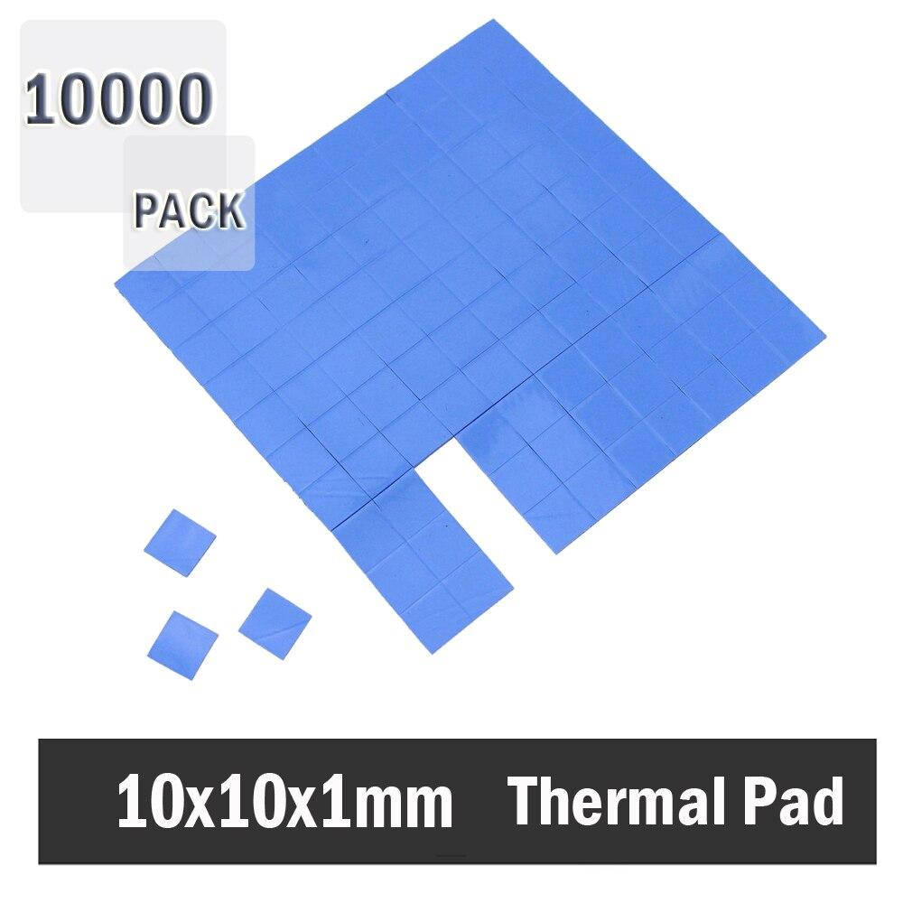 10000Pcs Gdstime 10x10x1mm Blue CPU VGA GPU Thermal Pad Silicone conductivity 1.5W