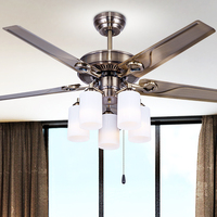 Ceiling fan European LED lamps ceiling lamps style retro iron leaf dining room bedroom ceiling fan light lamp household lamps