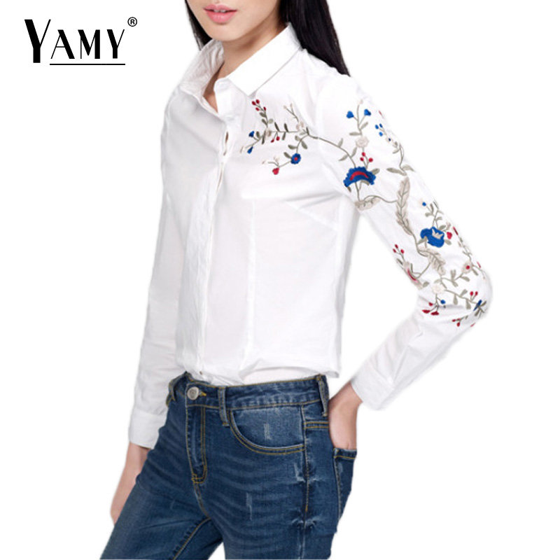Vintage Floral Embroidery Blouse women Ss