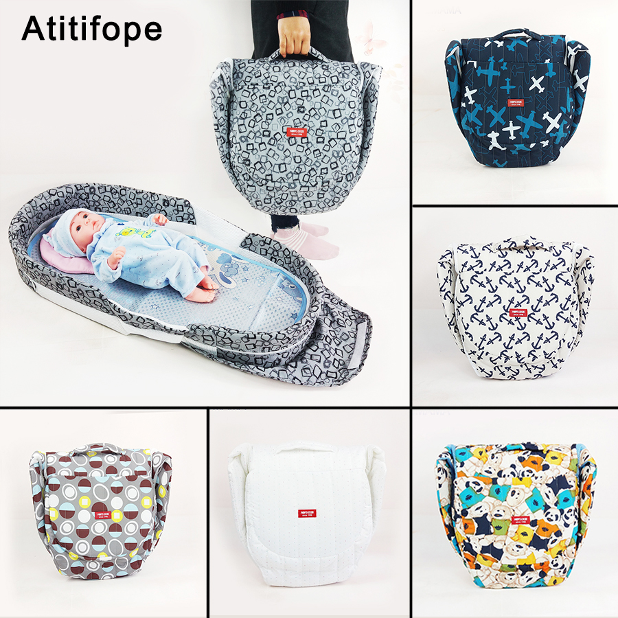 High Quality Baby Travel Bag Fashion Multifunction Foldable Portable Crib Gift Mats Pillows Crib Newborn Bed 90*40c'm