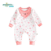Peninsula Baby Baby Rompers Newborn Infant Autumn Clothes Soft Cotton Long Sleeve Jumpsuit Bib Printed