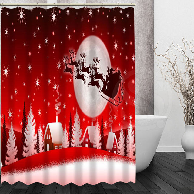 Merry Christmas Shower Curtain New High Quality Custom Bath Waterproof Modern Polyester Screens For