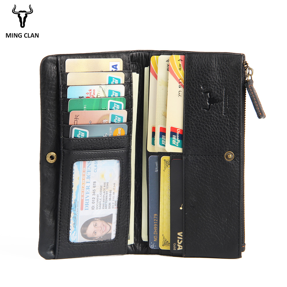 71cd288de572 US $23.83 40% OFF|Mingclan Full Grain Leather Wallet Zipper Coin Purse Card  Holder Collection Long Clutch Wallets Phone Wallet For Women Or Men-in ...