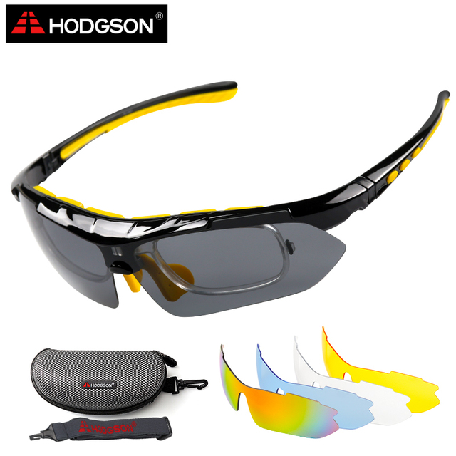 29a9482463 HODGSON Cycling Glasses Polarized Bike Bicycle Sunglasses Set Yellow 5  Lenses 1 Head Strap Optical Frame UV400 Sport Sun Glasses