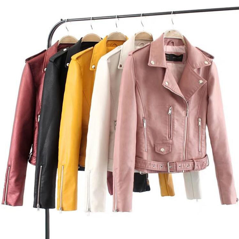6 Colors Available Women   Leather   Jacket With Belt Female Turn-down Collar Outwear Moto Biker   Leather   Coat Casaco Femiinino