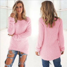Casual Warm Long Sleeve O-Neck Knitted Sweater Spring Autumn Winter Pullover Women Sweater Fashion Solid Color Warm Sweaters